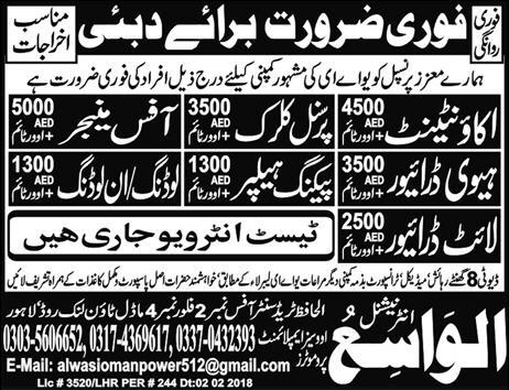 Accountant, Personal Clerks, Office Managers Job Opportunity