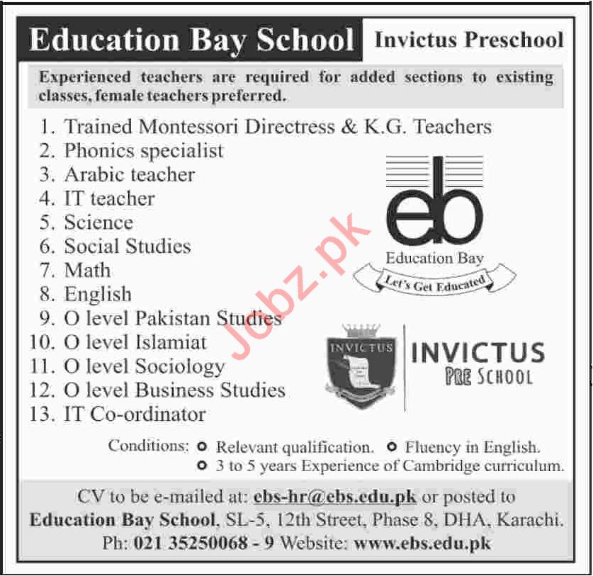 Education Bay School EBS Job Opportunities
