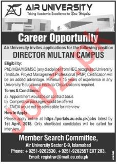 Air University AU Multan Campus Jobs 2018 Director