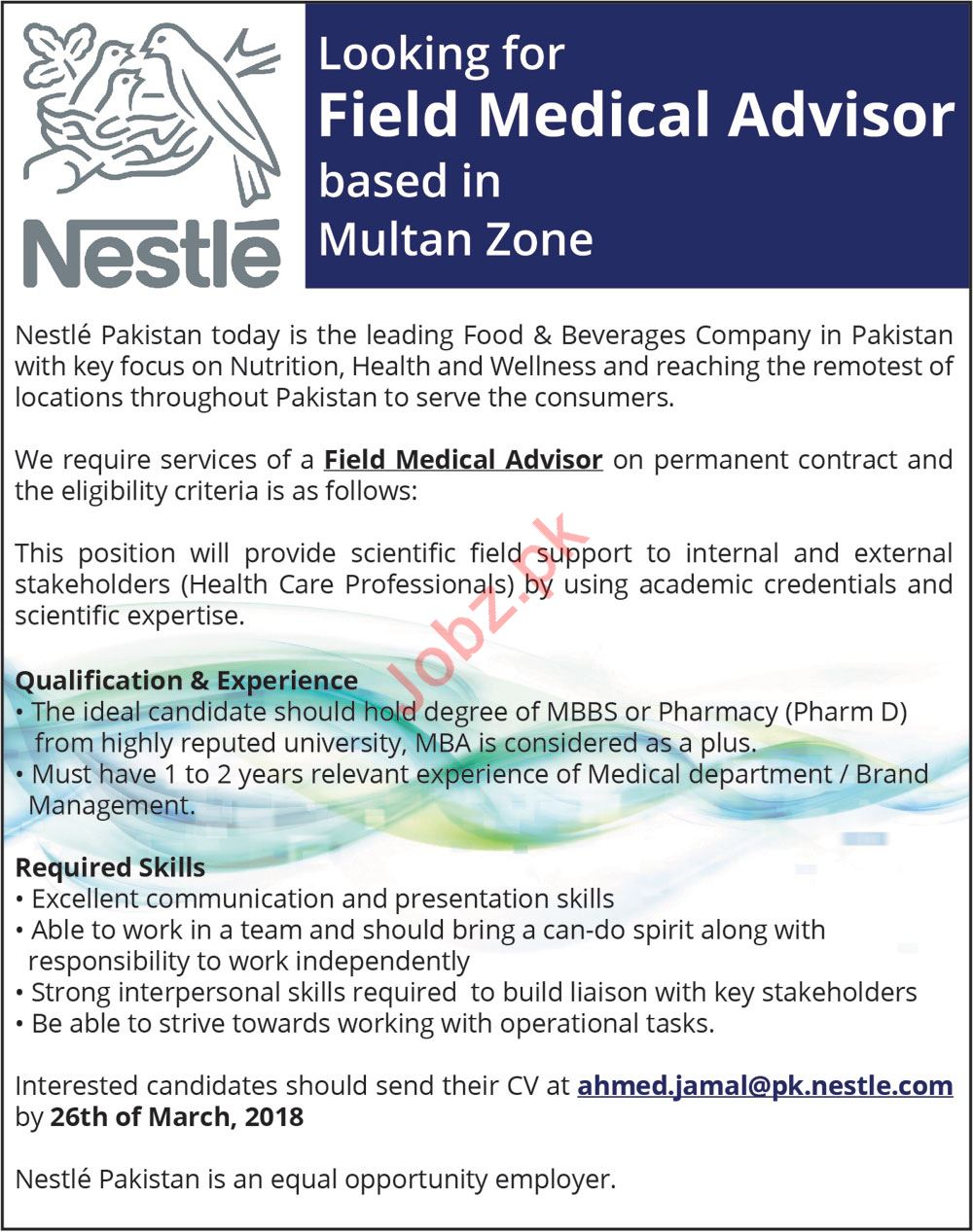 Nestle Pakistan Career Opportunities