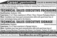 Technical Sales Executive Packaging Job Opportunity