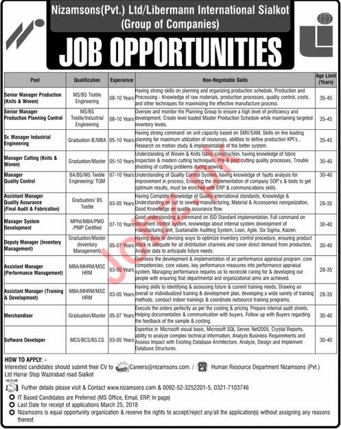 Nizam Sons Sialkot Jobs 2018 Managers