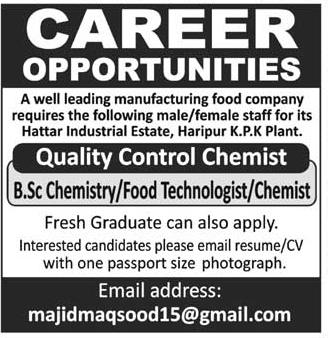 Quality Control Chemists Job Opportunity