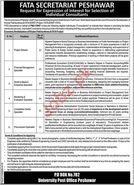 FATA Secretariat Peshawar Jobs 2018 Directors & Specialists