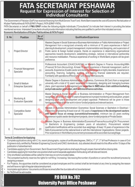 PMU ERKF FATA Secretariat Peshawar Jobs 2018