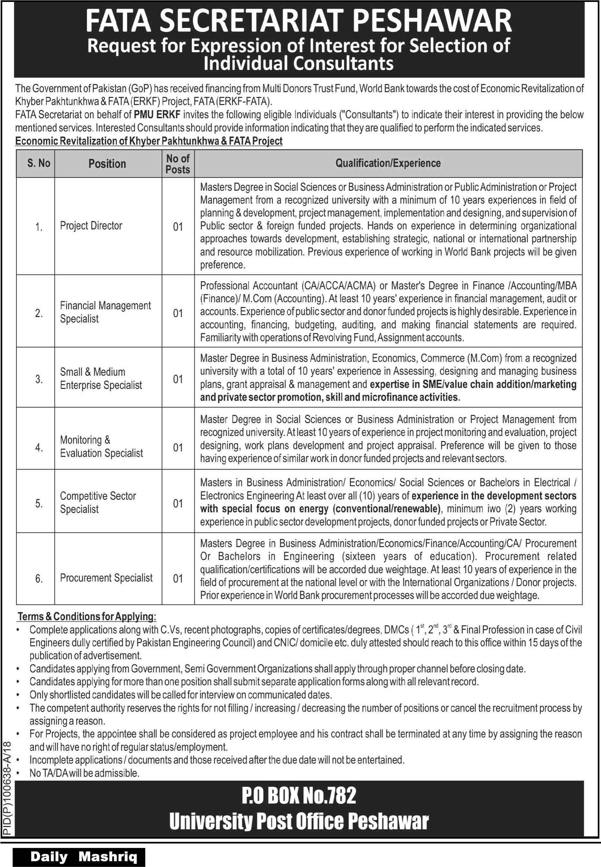 FATA Secretariat Peshawar PMU ERKF  Jobs
