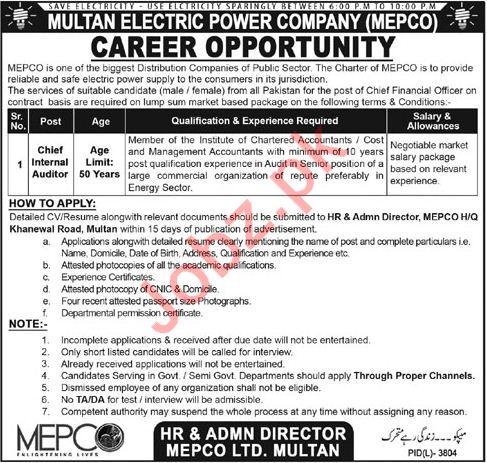 Multan Electric Power Company MEPCO Jobs 2018 Auditor