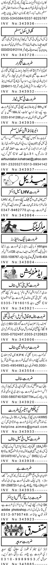 Male / Female Teachers, Chawkidars Job Opportunity