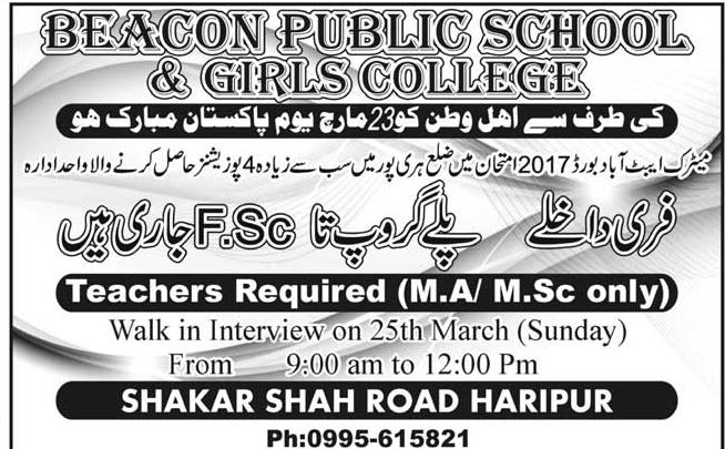 Beacon Public School & Girls College Teachers Jobs