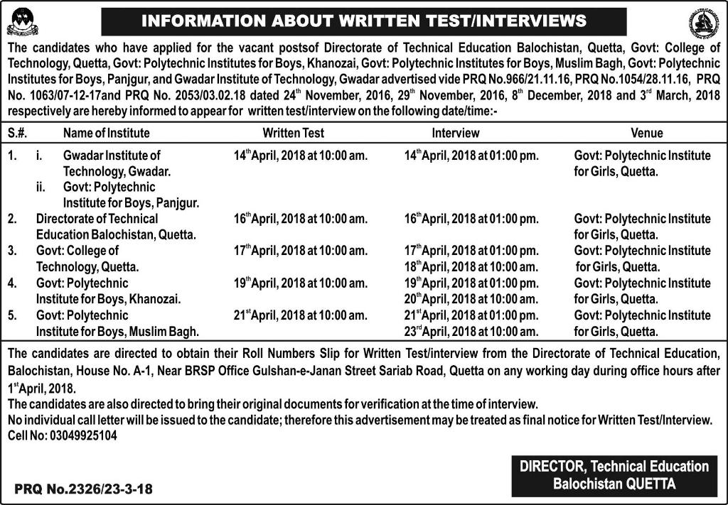 Directorate of Technical Education Balochistan Quetta Jobs