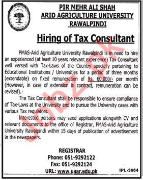 PMAS Arid Agriculture University Rawalpindi Jobs 2018