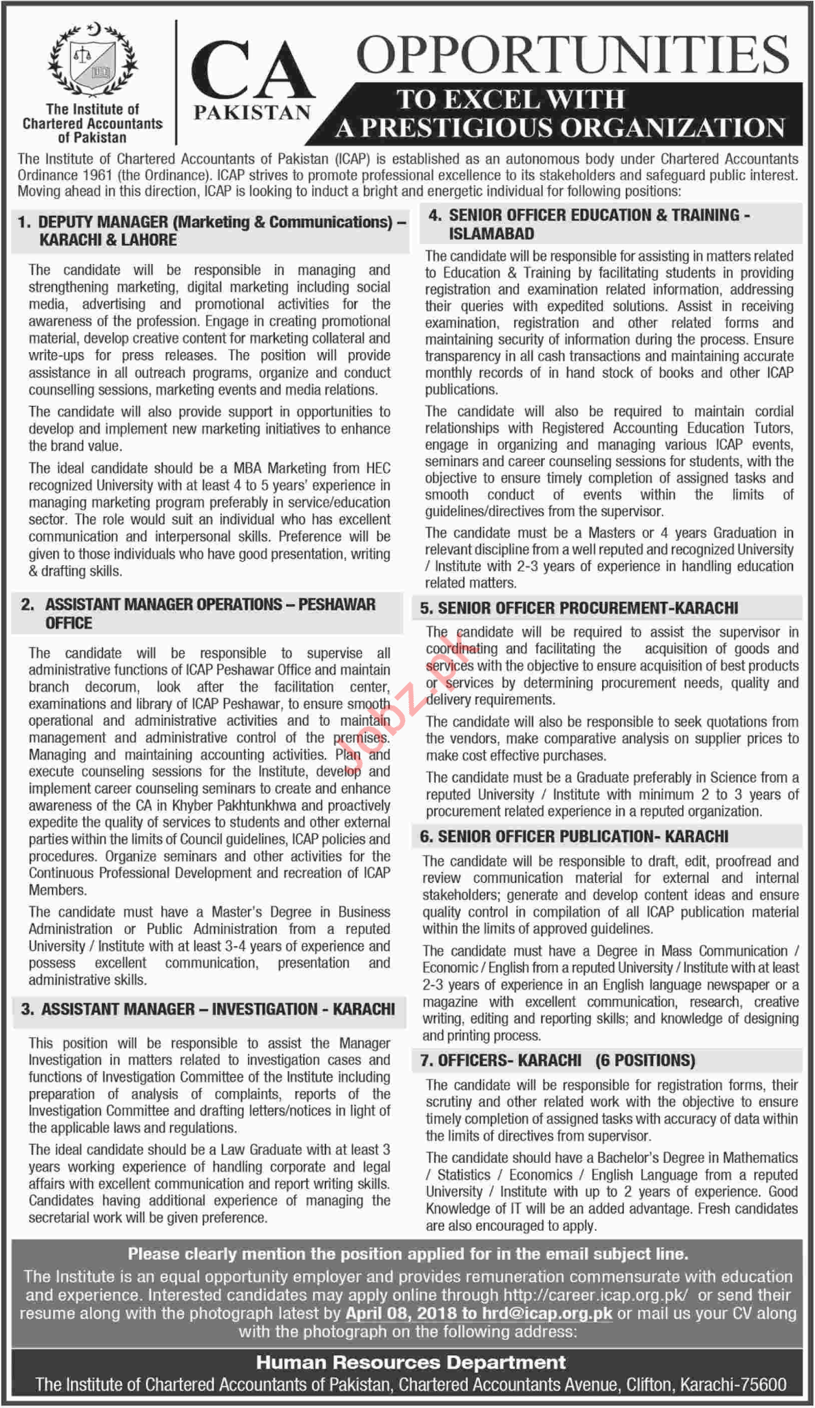 The Institute of Charted Accountants pf Pakistan CA Jobs