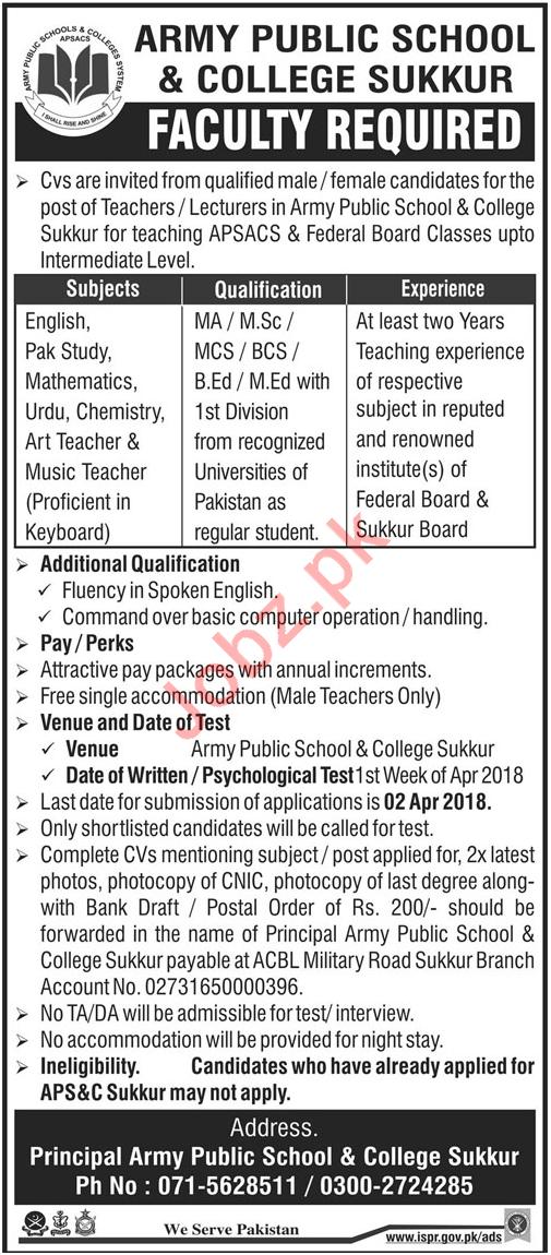 Army Public School & College APS & C Sukkur Jobs 2018