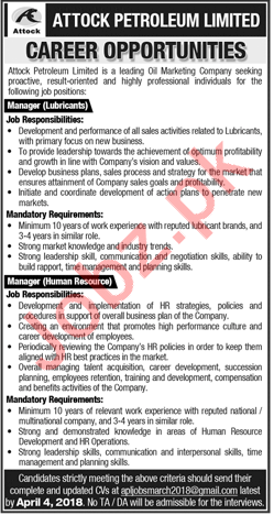 Attock Petroleum Limited Jobs 2018 For Managers