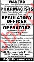 Pharmacists, Regulatory Officer & Operators Jobs 2018