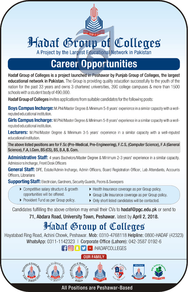Hadaf Group of Colleges Teaching  Jobs 2018