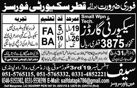 Security Guards Job in Qatar Famous Company