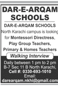 Dar e Arqam School North Karachi Campus Teachers Jobs