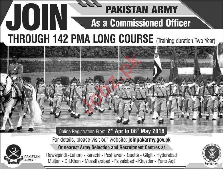Join Pakistan Army as Commissioned Officer 142 PMA Course