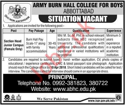 Army Burn Hall College ABHC Abbottabad Jobs 2018