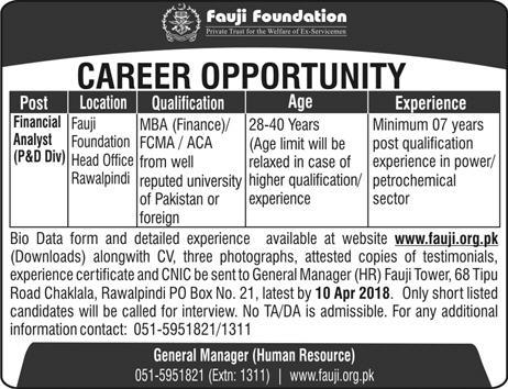 Financial Analysts P & D Division Job in Fauji Foundation