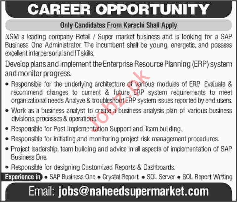 Naheed Super Market NSM Job Opportunities