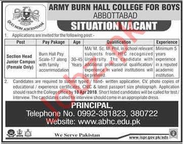 Army Burn Hall College for Boys ABHC Abbottabad Jobs 2018