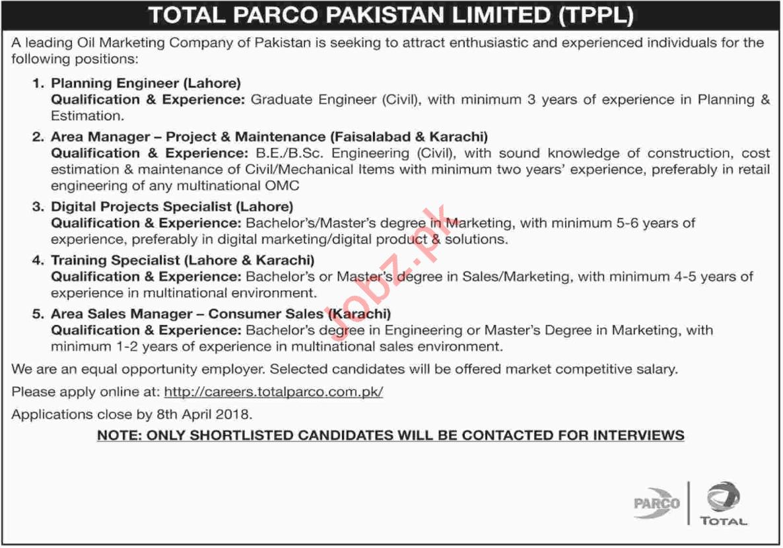 Total PARCO Pakistan Limited TPPL Job Opportunities