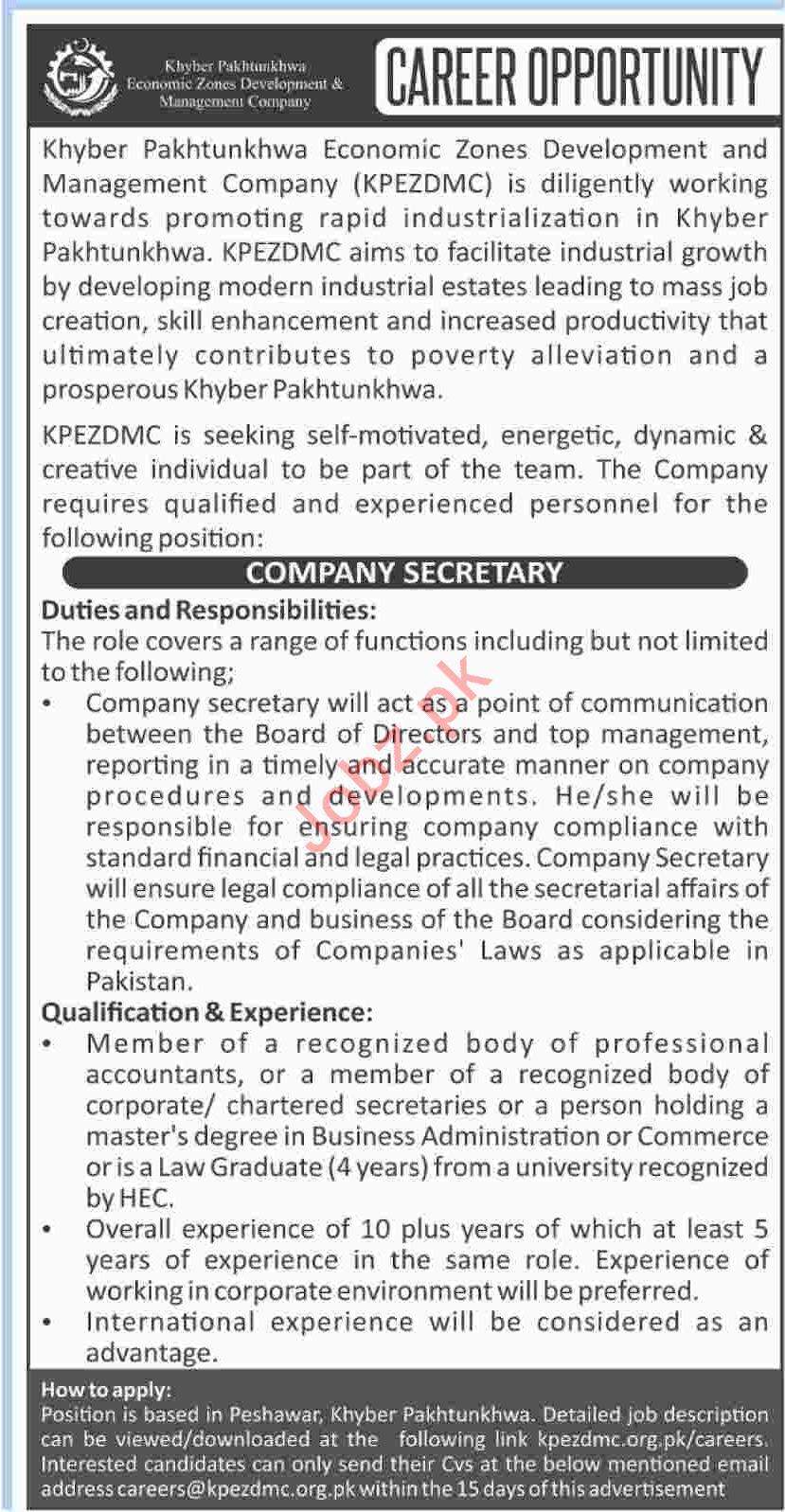 Khyber Pakhtunkhwa Economic Zones Development & Company Jobs
