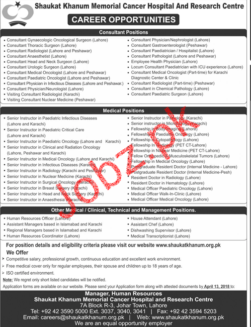 Shaukat Khanum Memorial Cancer Hospital Jobs 2018