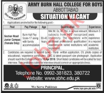 Army Burn Hall College For Boys Abbottabad Jobs 2018