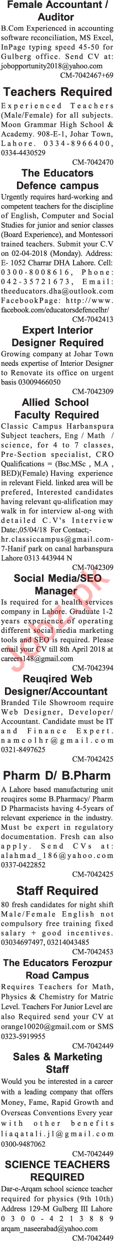 Miscellaneous Staff Jobs 2018 in Lahore