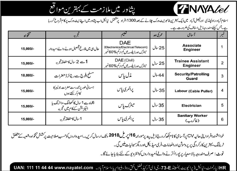 Nayatel Pvt Limited Associate Engineer Jobs