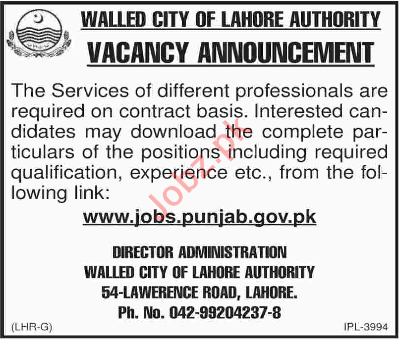 Walled City of Lahore Authority WCLA Jobs 2018