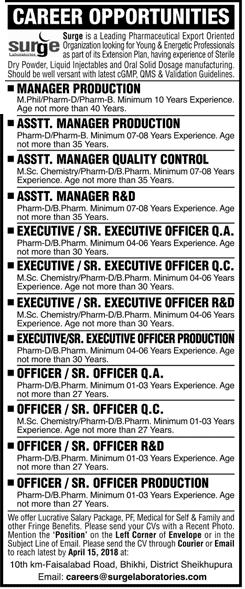 Surge Laboratories Pvt Ltd Management Jobs