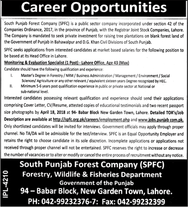 South Punjab Forest Company SPFC Job Open
