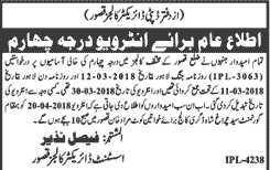 Deputy Director of Education College Class Four Staff Wanted