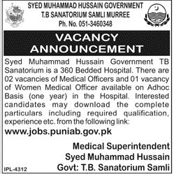 Syed Huhammaad Hussain Government TB Sanatorium Jobs