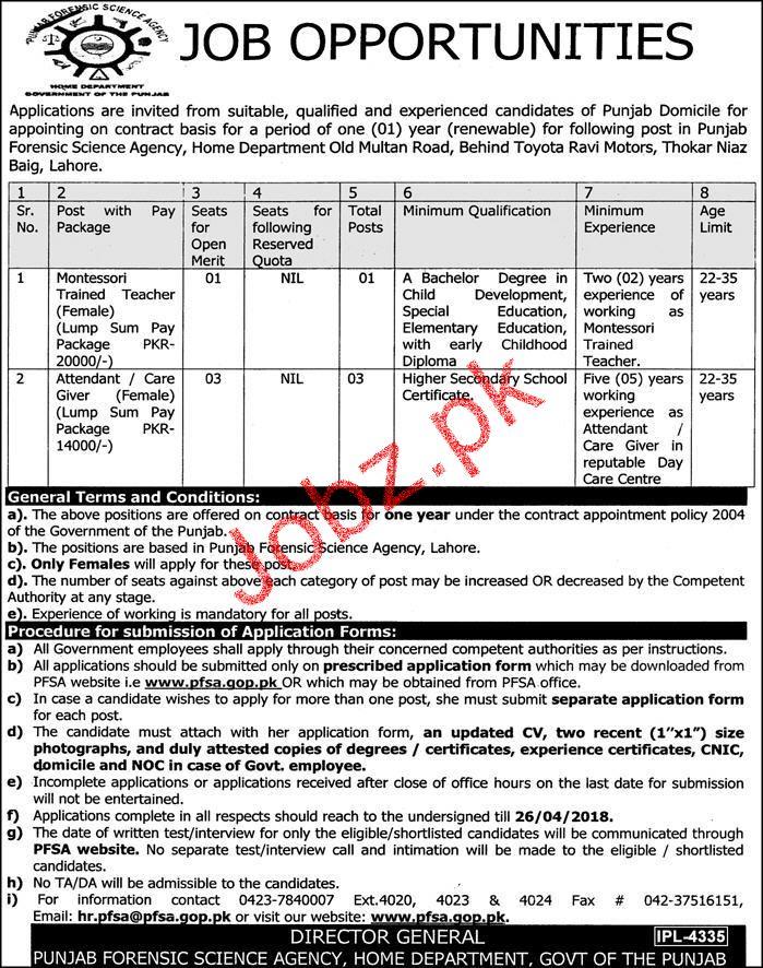 Punjab Forensic Science Agency PFSA Jobs