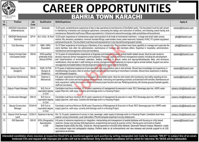 Bahria Town Karachi Jobs 2018 Managers & Specialist