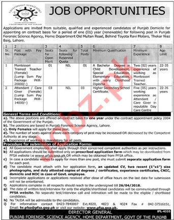Punjab Forensic Science Agency PFSA Lahore Jobs 2018