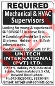 Mechanical & HVAC Supervisors Jobs in Lahore