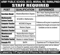 Army Public School & College APS Misrial Road Campus Job