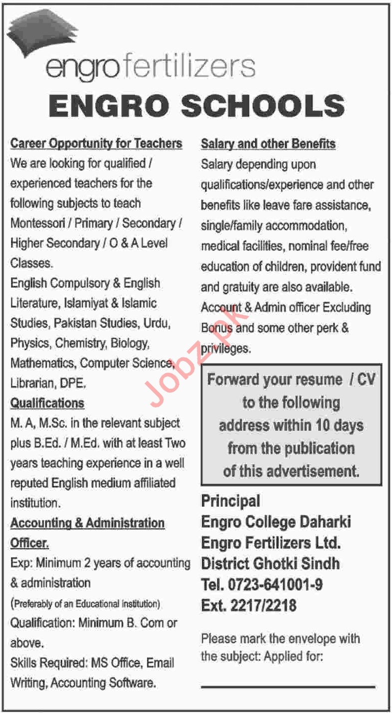 Engro Schools Job Opportunities