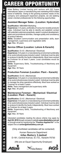Atlas Battery Limited Assistant Manager Sales Jobs