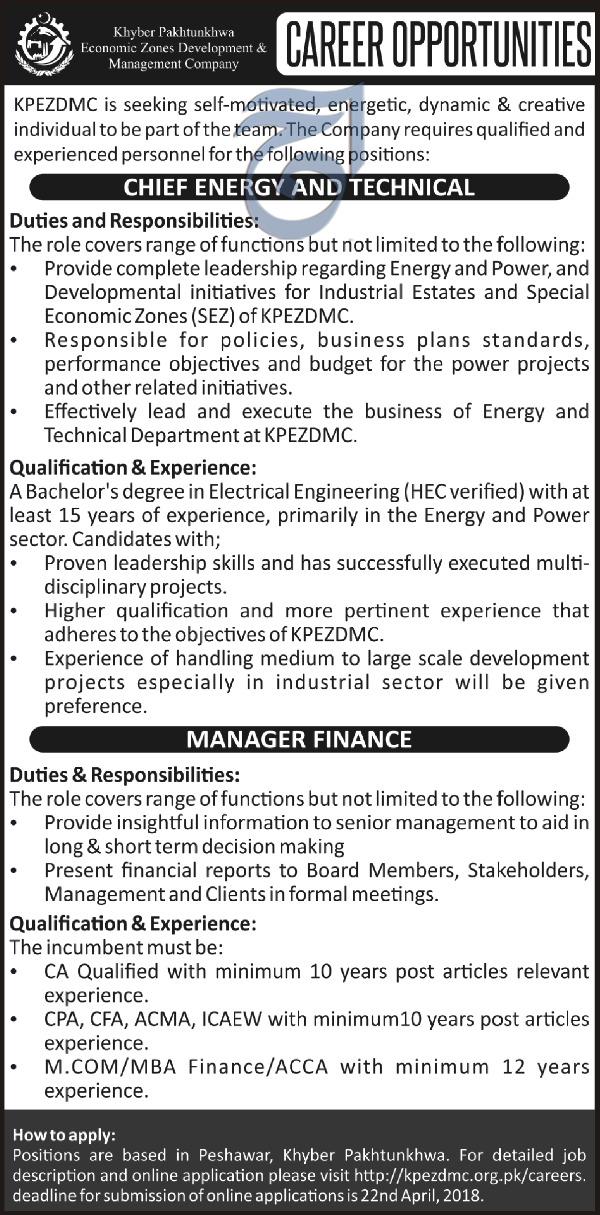 Khyber Pakhtunkhwa Economic Zone Development Co Jobs