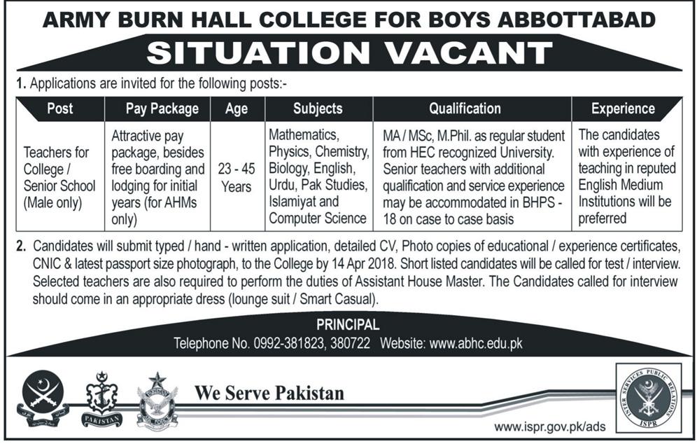 Army Burn Hall College for Boys  APS Teachers Jobs