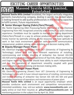 Masood Textile Mills Limited MTM Jobs