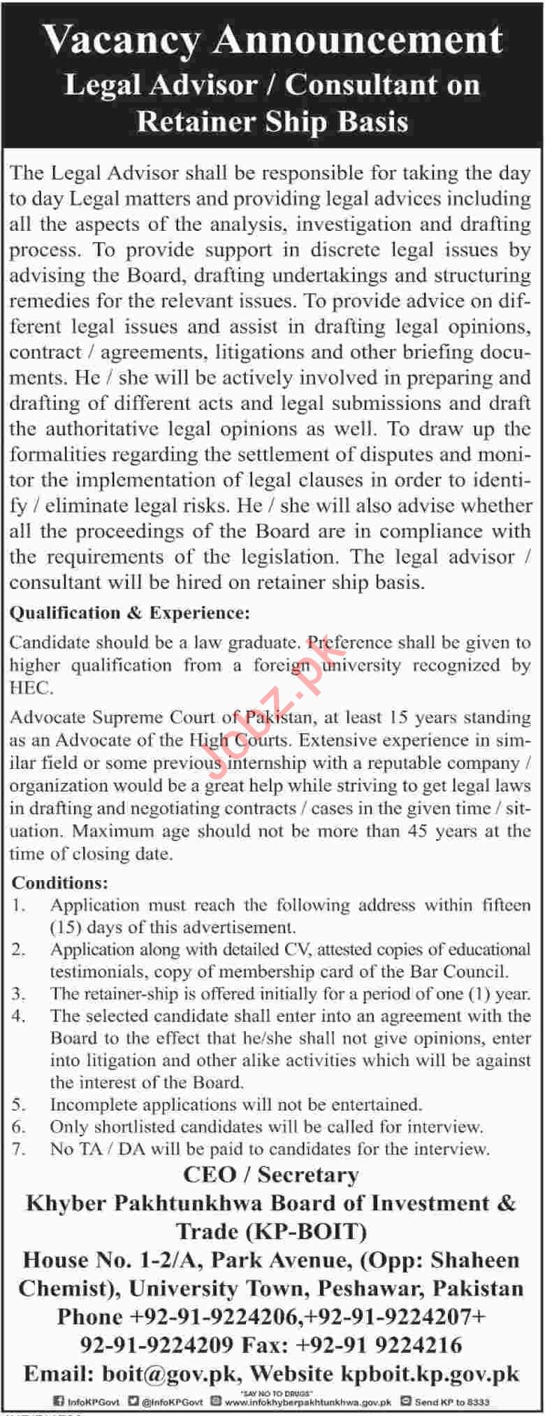 Board of Investment & Trade BOIT KPK Jobs 2018 Legal Advisor