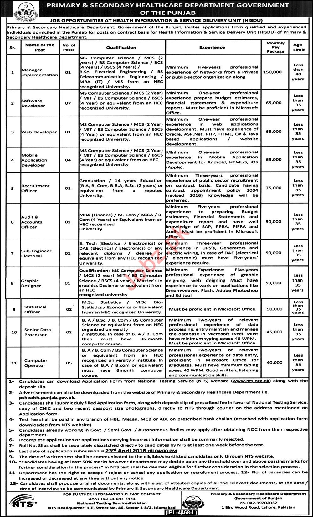 Health Information and Service Delivery Unit HISDU Jobs 2018